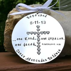 Baptism Keepsake Ornament - Hand Stamped and Enameled on Aluminum * Remarkable product available now. : Handmade Gifts