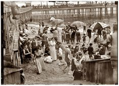 On the beach at New York's Coney Island circa 1910-1915