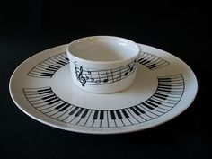 Entertaining By Shafford Piano Keys & Music Notes Serving Tray & Attached Bowl