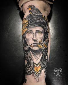 Tatuagem criada por Kadu Tattoo do Espírito Santo. Busto em neo tradicional.