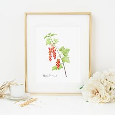 Red Currant Printable Berry Wall Art by MossAndTwigPrints on Etsy