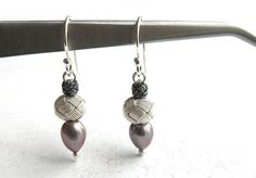 Grey pearl earrings drop earrings round earrings by eacarjewelry