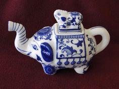 Hand Painted Vintage Cobalt Blue & White Ceramic Elephant Teapot