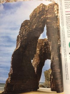 Spain,  Ribadeo  Cathedrals beach 100 foot rock arches resemble flying actresses of cathedrals. Walk during low tide in the bay biscay