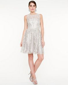 Le chateau : Foil Lace Fit And Flare Dress STYLE: 306465