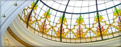 The Rotuna Room at The Astor Hotel features this beautiful stained glass dome ceiling.