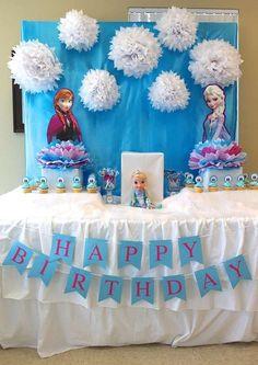Frozen (disney) birthday party ideas in 2019 Frozen Themed Birthday Party, Disney Frozen Birthday, 4th Birthday Parties, Frozen Disney, 3rd Birthday, Frozen Birthday Banner, Birthday Ideas, Frozen Party Decorations, Birthday Party Decorations