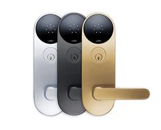 Digital keyless entry system by Thomas Meyerhoffer. The Latch lock M1 in silver, black and gold