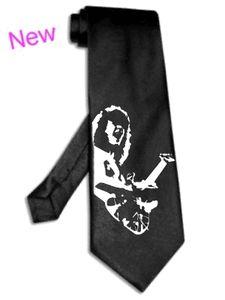 Eddie Van Halen tie BLACK satin silk necktie Silver Image