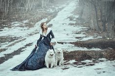 The Snow Queen and wolves | winter | princess