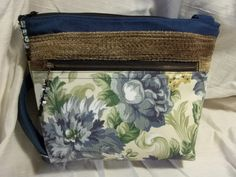 Cross body VI Handbag in blue florals and brown, with an adjustable strap by ChickadeeHillDesigns on Etsy