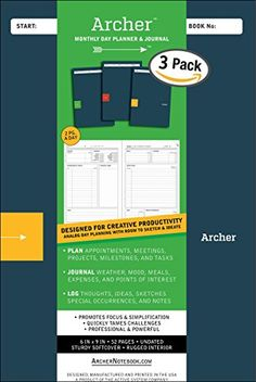 Archer Monthly Daily Planner & Journal, 3-Pack, 6X9, Appointment Book and Life Tracker, Project Manager, Designed for Creative Productivity Archer Monthly Day Planner & Journal http://www.amazon.com/dp/B016OWT7NI/ref=cm_sw_r_pi_dp_sx2Nwb1X93YGZ