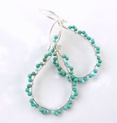 sterling silver turquoise hoop earrings turquoise by Leoben, $45.00