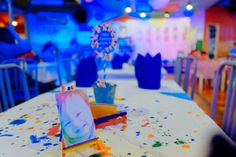 James' Art Attack / Painting Themed Party – Table Setup Details Craft Party, Party Themes, Arts And Crafts, Birthday, Painting, Inspiration, Table, Biblical Inspiration, Birthdays