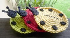 Crochet Ladybug Coasters - pick your six | MonikaDesign - Housewares on ArtFire