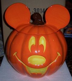 Disney Mickey Mouse Halloween Cookie Jar Pumpkin Character Head NEW Large | eBay