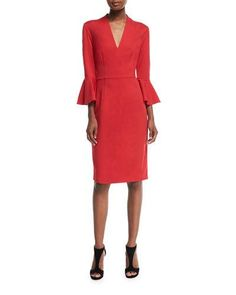 Shop contemporary fashion dresses at Neiman Marcus. Fit into these jaw dropping gowns and sophisticated dresses from well known designers. Bell Sleeve Dress, Bell Sleeves, Princess Seam, Trina Turk, Neiman Marcus, Polyester Spandex, Peplum Dress, Luxury Fashion, Dresses For Work