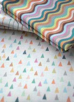 mountains - pastel fabric - fat quarter - triangle fabric - geometric fabric. $9.00, via Etsy.