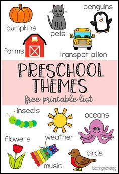 Themes Printable Preschool Themes Printable - a giant list of themes for preschool lessons. Over 80 ideas listed on a free printable.Preschool Themes Printable - a giant list of themes for preschool lessons. Over 80 ideas listed on a free printable. Teaching Themes, Preschool Learning Activities, Preschool Lesson Plans, Preschool At Home, Free Preschool, Preschool Printables, Preschool Kindergarten, Toddler Preschool, Preschool Curriculum Free