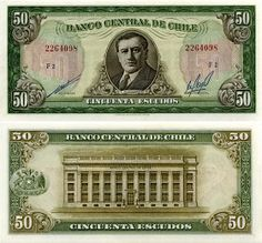 50 Escudos Chile's Banknote Pick: Date: 1973 Money, Country, Dragon, San Salvador, Paper, Paradise, America, Pretty, Anime