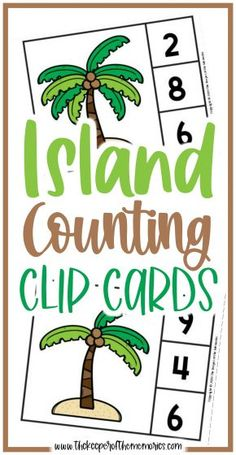 Island Counting Clip Cards are a wonderful way to practice counting skills and number recognition with your little kids. Don't forget to grab yours today! #preschool #math #island #palmtrees #centers #counting #numbers #preschoolmath #preschoolthemes #preschoolactivities Sensory Activities Toddlers, Kids Learning Activities, Preschool Themes, Preschool Printables, Fun Learning, Preschool Activities, Preschool Worksheets, Printable Worksheets, Free Printable