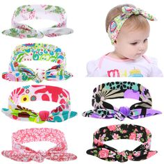 4ca3d960957 6PCS Lot Baby Girl Self Tie Bunny Ears Floral Print Headband Hair Bands Bow  Accessories