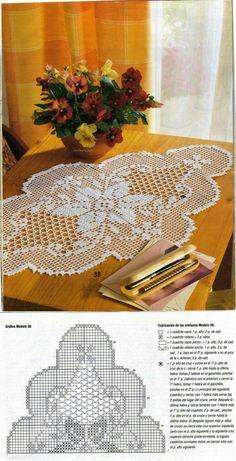 Crochet Table Runner Vintage Flower 58 I - Diy Crafts Crochet Table Runner Pattern, Crochet Doily Diagram, Filet Crochet Charts, Crochet Doily Patterns, Crochet Tablecloth, Thread Crochet, Crochet Motif, Crochet Designs, Crochet Lace