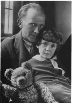 Milne, Christopher Robin and Christopher's teddy bear, the inspiration for Winnie-the-Pooh. Milne, Christopher Robin and Christophers teddy bear, the inspiration for Winnie Winnie The Pooh, John Wright, Illustrator, Pooh Bear, Tigger, Look At You, Book Authors, Disney Channel, Love Book
