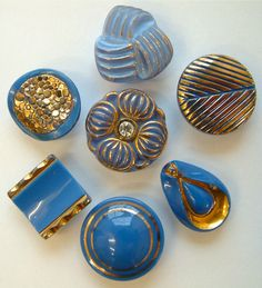 7 Vintage Teal Blue Art Deco Glass Buttons, Very Glamorous!