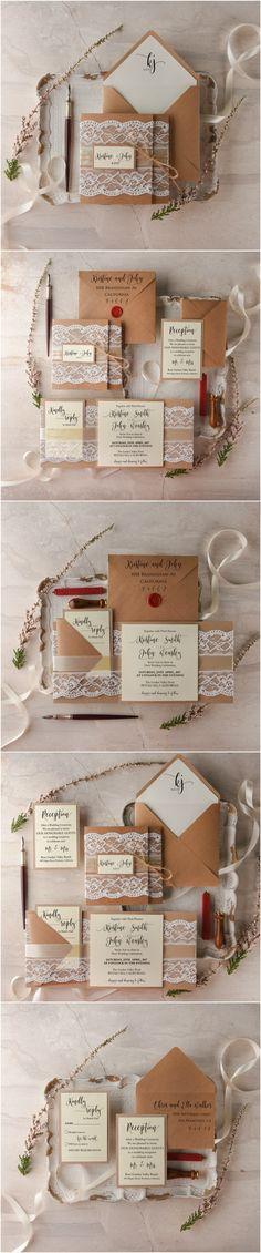 Lace Wedding Invitations - eco kraft paper, calligraphy printing & wax stamp #rustic #romantic #eco #weddingideas #weddingstationery