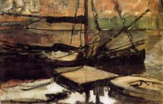 Moored Ships Sun | Piet Mondrian davidcharlesfoxexpressionism.com #abstractart #abstract #pietmondrian #mooredshipssun #impressionism #abstradctimpressionism #expressionism