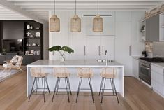 Cammeray Family Home - The Kitchen in my Cammeray project stealing the show! My favourite piece those rattan pendants whic - Home Decor Kitchen, Interior Design Kitchen, Home Kitchens, Kitchen Dining, Kitchen Island Bench, Small Kitchens, Decoration Inspiration, Open Plan Kitchen, Beautiful Kitchens