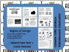 This is a bundle pack of all five of my Georgia regions printable books. Regions included are Swamp, Ocean, Coastal Plain, Piedmont, and Mountain. Each book is complete with eight half pages of information with a summarizing activity at the end.