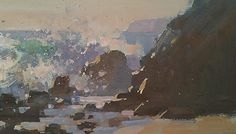 Mike Hernandez Painting the epic surf at Laguna Beach. Sunset 5x9 gouache