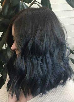 Blue Denim Hair Colors: Subtle Navy Denim Hair - Hair World Hair Color Dark Blue, Cool Hair Color, Hair Colors, Blue Colors, Subtle Hair Color, Denim Blue Hair, Navy Blue Hair, Dye My Hair, Ombre Hair