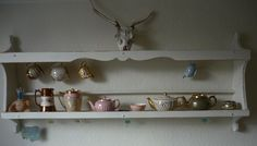 Old Wall Mounted Wooden Plate Rack/shelf/display Painted Ivory