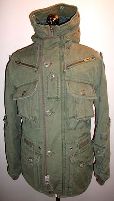 Military Parka Jacket Overcoat. Designer Hooded Parka Coat. Hooded Neck  With Draw Cords to 5d490d597