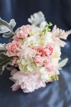 Pastel Bridesmaids Bouquet for Slate Blue and Pink Wedding Photo by Jessica Haley