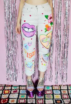 REWORKED - Vintage 90s Hand Painted High Waisted Mom Jeans | Dirty Disco Vintage | ASOS Marketplace