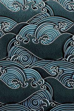 Japanese artwork, japanese textiles, japanese design, water patterns, art p Japanese Textiles, Japanese Patterns, Japanese Design, Chinese Patterns, Textile Patterns, Print Patterns, Floral Patterns, Geometric Patterns, Cool Patterns