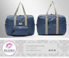 Polka dots are such a big fashion trend at the moment and we at cannot get enough of it! We absolutely adore this blue overnight/baby bag, available at a store near you! Big Fashion, Fashion Trends, Hand Bags, Polka Dots, Africa, Blush, In This Moment, Store, Baby