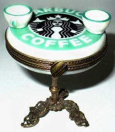 Limoges Box ~ Starbucks table with cups