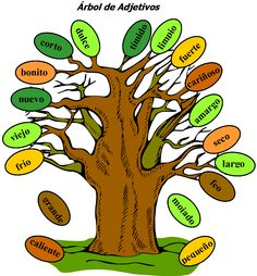 Árbol de Adjetivos (tree of adjectives) a great freebie for practicing Spanish adjectives!