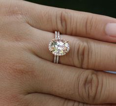 Morganite Engagement Ring and Simulated Diamond Wedding Ring Set in Rose Gold, Pink Peach Morganite Engagement Ring Buying Guide, Oval Engagement, Morganite Engagement, Perfect Engagement Ring, Diamond Wedding Rings, Vintage Engagement Rings, Diamond Engagement Rings, Morganite Ring, Wedding Band