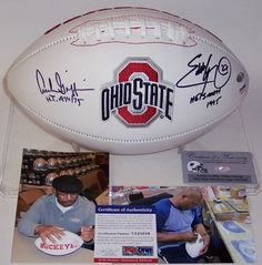 Archie Griffin   Eddie George - Autographed Ohio State Buckeyes Full Size  Logo Football - PSA 9dc2d28e0