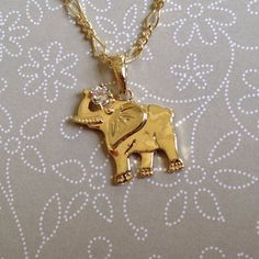 Elephant Charm Pendant 14k Yellow Gold Plated with CZ Stone