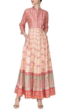 c593fb37877cb4 Vasansi Jaipur Off white orange block printed anarkali gown available only  at Pernia s Pop Up Shop