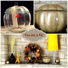 Fall Mantel Glazed glass pumpkin