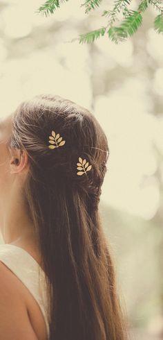 Boho Hair Accessories Bohemian Hair Accessories Boho Bohemian Weddings Boho Bohemian Bridal Hair Gold Leaf Hair Clips Leaf Hair Bobby Pins