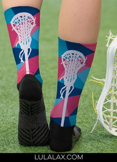 Our top-rated custom printed mid-calf socks are great for wearing on and off the lacrosse field! Many can be customized with a name, monogram, number, team name and more! #lulalax #girlslacrosse